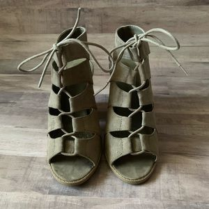 Taupe Lace Up Heels